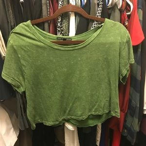 Green flowy crop top